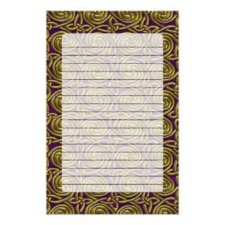 Gold And Purple Celtic Spiral Knots Pattern Stationery