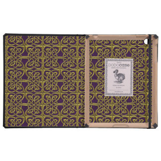 Gold And Purple Connected Ovals Celtic Pattern Case For iPad