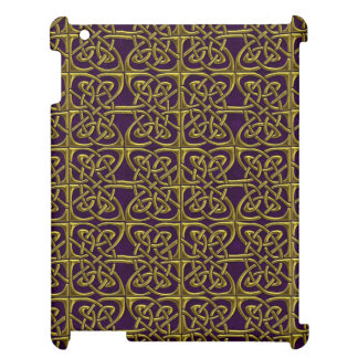 Gold And Purple Connected Ovals Celtic Pattern iPad Cases