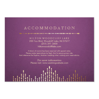 Gold and purple deco vintage wedding accommodation 11 cm x 16 cm invitation card