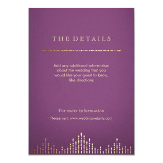 Gold and purple deco vintage wedding  detail card 11 cm x 16 cm invitation card