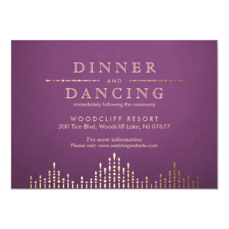 Gold and purple deco vintage wedding reception 11 cm x 16 cm invitation card
