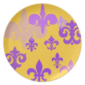 Gold and Purple Fleur de Lis  Decorative Plate