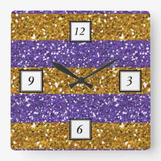 Gold and Purple Glitter Stripes Printed Square Wall Clock