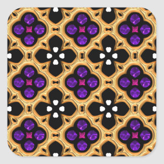 Gold and Purple Holiday Bling Square Sticker