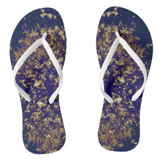 Gold and purple pattern thongs