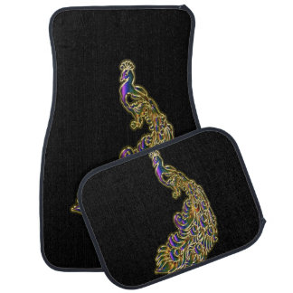 Gold and purple peacock glimmering brightly car mat