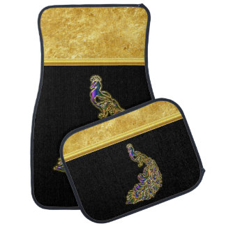 Gold and purple peacock gold foil with black car mat
