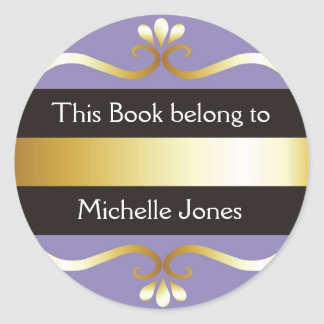 Gold And Purple This Book Belongs To Bookplates Round Sticker