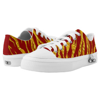 Gold And Red Animal Tigers Stripes Low Tops