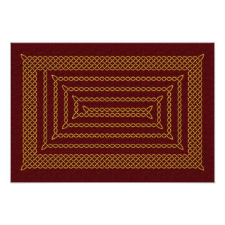 Gold And Red Celtic Rectangular Spiral Art Photo