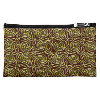Gold And Red Celtic Spiral Knots Pattern Makeup Bag