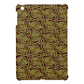 Gold And Red Celtic Spiral Knots Pattern Cover For The iPad Mini