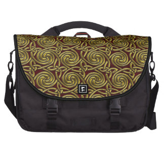Gold And Red Celtic Spiral Knots Pattern Laptop Bag