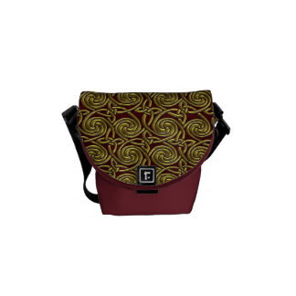 Gold And Red Celtic Spiral Knots Pattern Courier Bags