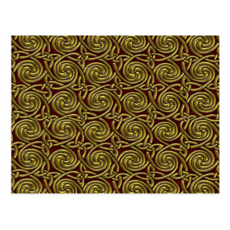Gold And Red Celtic Spiral Knots Pattern Post Card