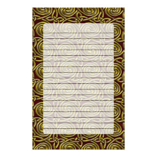 Gold And Red Celtic Spiral Knots Pattern Stationery Design