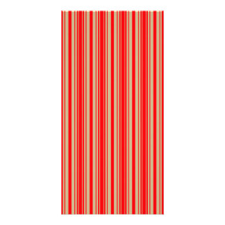 Gold and Red Christmas Stripes Photo Card
