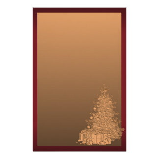 Gold and Red Christmas Tree Stationery