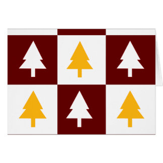 Gold and Red Christmas Trees Greeting Card