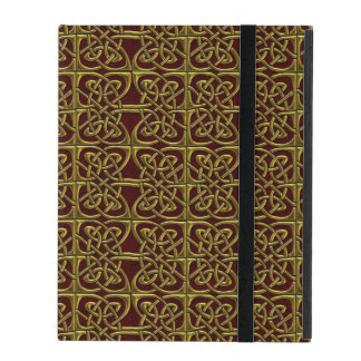 Gold And Red Connected Ovals Celtic Pattern iPad Covers