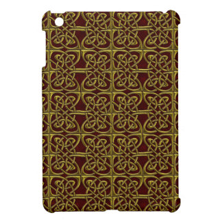 Gold And Red Connected Ovals Celtic Pattern iPad Mini Cases