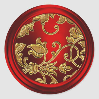 Gold and Red Damask Envelope Seal