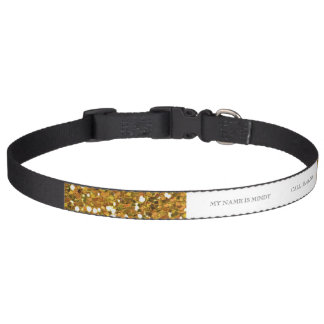 Gold and Red Glitter Stripes Printed Dog Collar