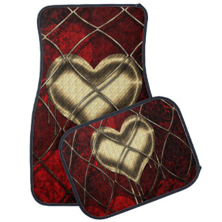 Gold and Red Hearts Gold Links Set of 4 Car Mats