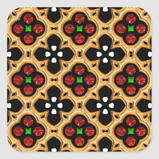 Gold and Red Holiday Bling Square Sticker