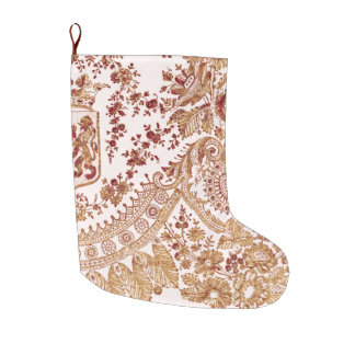 Gold And Red Lace Roses Large Christmas Stocking
