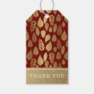 Gold and Red Leaf Pattern Gift Tags
