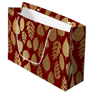Gold and Red Leaf Pattern Large Gift Bag