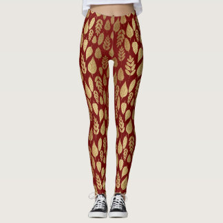 Gold and Red Leaf Pattern Leggings