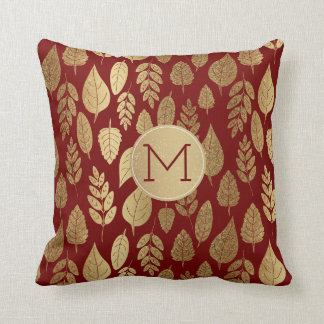 Gold and Red Leaf Pattern & Monogram Cushion