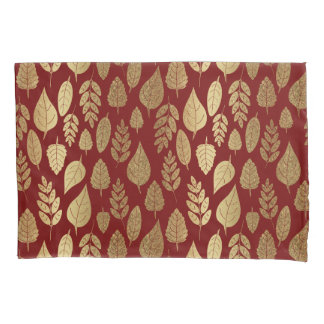 Gold and Red Leaf Pattern Pillowcase