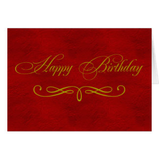 Gold and Red Leather Pattern Happy Birthday card