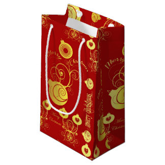 Gold and Red Ornaments Gift Bag - Small, Glossy