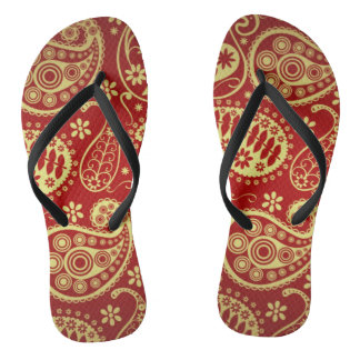 Gold And Red Paisley Pattern Thongs
