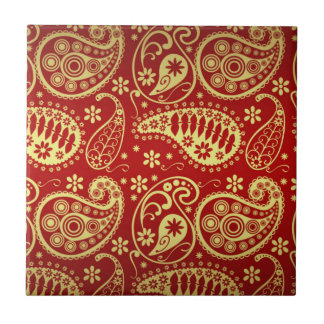 Gold And Red Paisley Pattern Tile