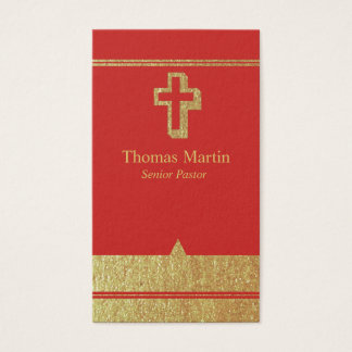 Gold and Red Pastor Business Cards with Cross