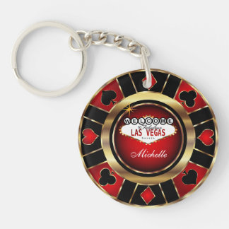 Gold and Red Poker Chip Design - Personalize Double-Sided Round Acrylic Key Ring