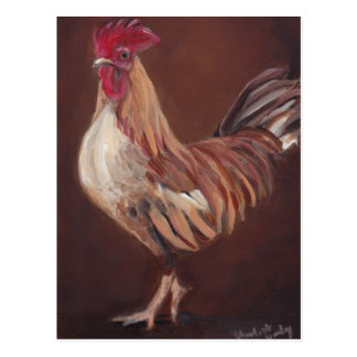 Gold and Red Rooster Art Postcard