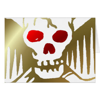 Gold and Red Skull and Crossbones Card