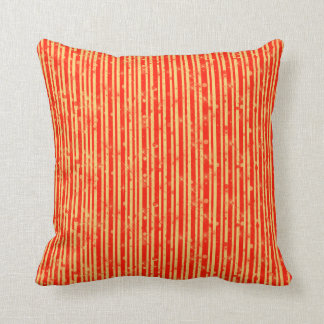 Gold and Red Stripes & Sparkles Cushion