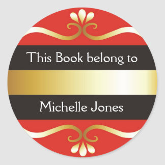 Gold And Red This Book Belongs To Bookplates Round Sticker