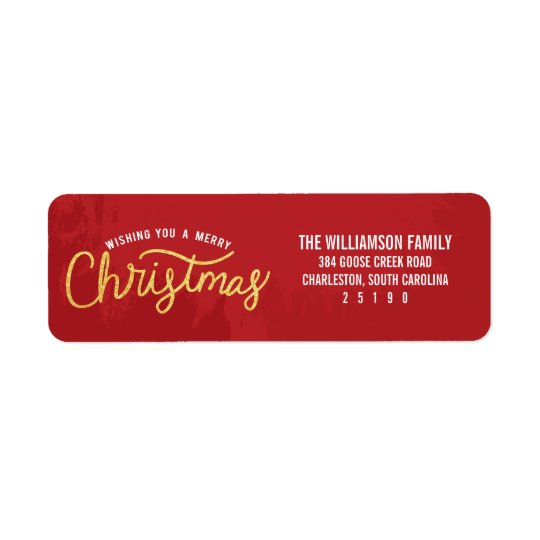Gold and Red Wishing A Merry Christmas Holiday Return Address Label