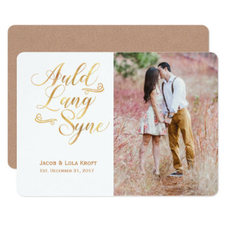 Gold and Rose Auld Lang Syne Card