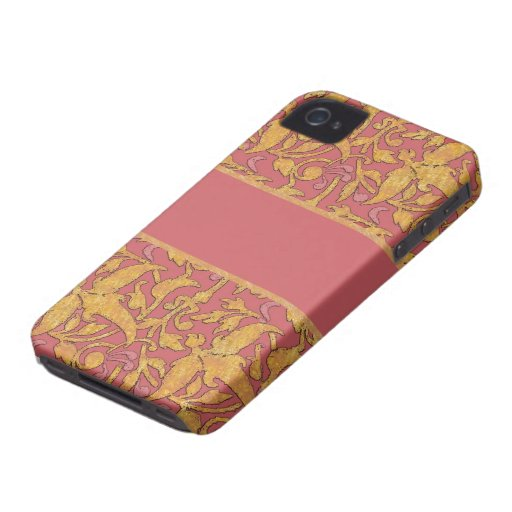 Gold and Rose Damask Pattern Blackberry Case iPhone 4 Case