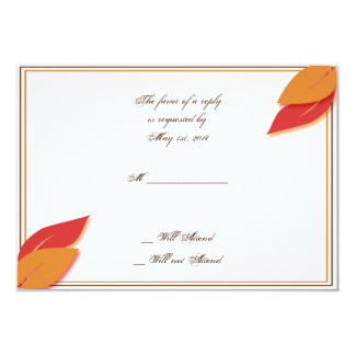Gold and Rust Fall Leaf Response Card Custom Announcement